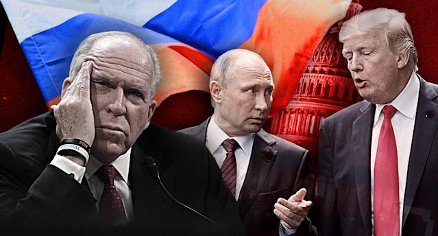 John Brennan, Vladimir Putin and Donald Trump. (Yahoo News photo illustration; photos: Alex Wong/Getty Images, Jorge Silva/Reuters, AP, /J. Scott Applewhite/AP)