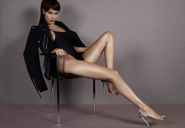 <p><strong>Model:</strong> Bella Hadid <br><strong>Photographer:</strong> Mert & Marcus <br><strong>Stylist: </strong>Carine Roitfeld<br>(Photo: Courtesy of Giuseppe Zanotti) </p>