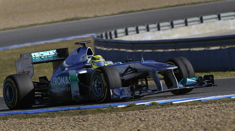 CORRECTS NAME OF DRIVER - Nico Rosberg  of Germany and Mercedes GP drives during Formula One winter testing at the Circuito de Jerez, on Thursday, Feb. 9, 2012, in Jerez de la Frontera, Spain. (AP Photo /  Miguel Angel Morenatti)