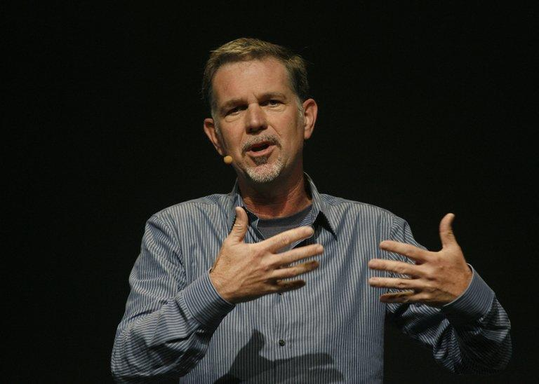 Netflix Chief Executive Reed Hastings speaks to a Facebook developer conference