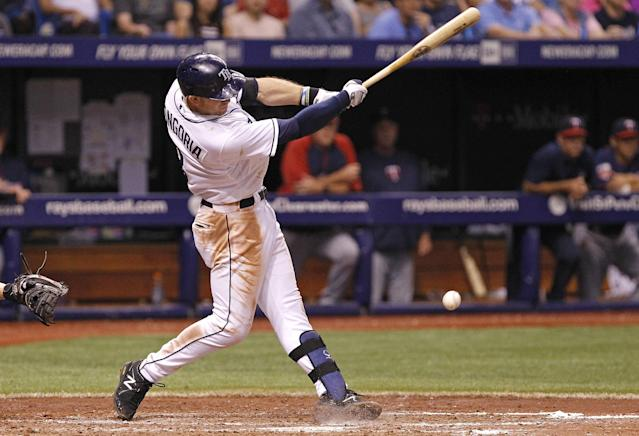 Tampa Bay Rays' Evan Longoria hits an infield single to score Desmond Jennings during the fifth inning of a baseball game against the Minnesota Twins, Wednesday, April 23, 2014, in St. Petersburg, Fla. (AP Photo/Brian Blanco)