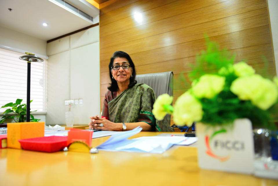 NEW DELHI, INDIA  JULY 18: (EDITORS NOTE: This is an exclusive interview of Mint) Naina Lal Kidwai - President of Federation of Indian Chambers of Commerce and Industry (FICCI) at her office on July 18, 2013 in New Delhi, India. (Photo by Priyanka Parashar/Mint via Getty Images)
