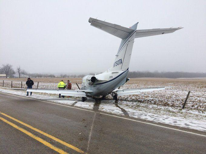 A chartered plane landing at Richmond Municipal Airport on Feb. 11, 2019, slid on a snowy runway through an airport field, across Ind. 227 and into a fence.