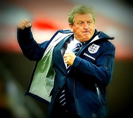 Roy Hodgson with a rare show of emotion, celebrating hard during England's match against Montenegro