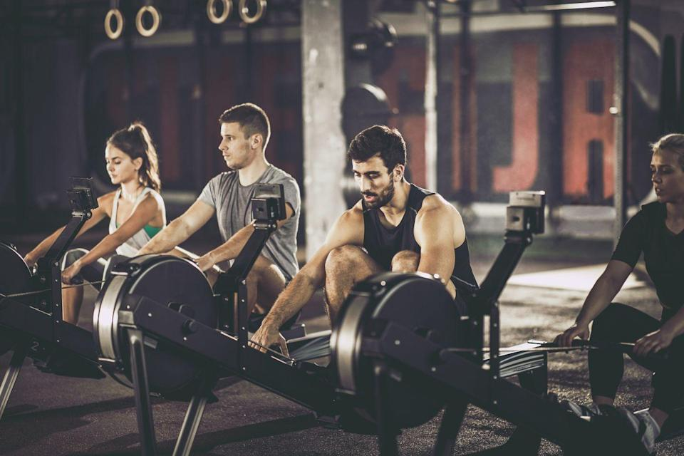 <p>This workout starts out slowly but ends with a flourish. The best part: It has a natural built-in warmup. </p><p>- Set a rower to count 1-minute intervals. Your goal is to reach the required amount of calories before each minute is up. </p><p>- The first minute, you'll row for 5 calories, then rest until the next minute begins. The next minute, row for 6 calories, then rest until the next minute begins. Continue working up the ladder. </p><p>- Aim to complete as many rounds as possible. The workout ends when you can no longer complete the required amount of calories in the minute. </p><p>- Try to make it through at least 15 minutes of work. </p>