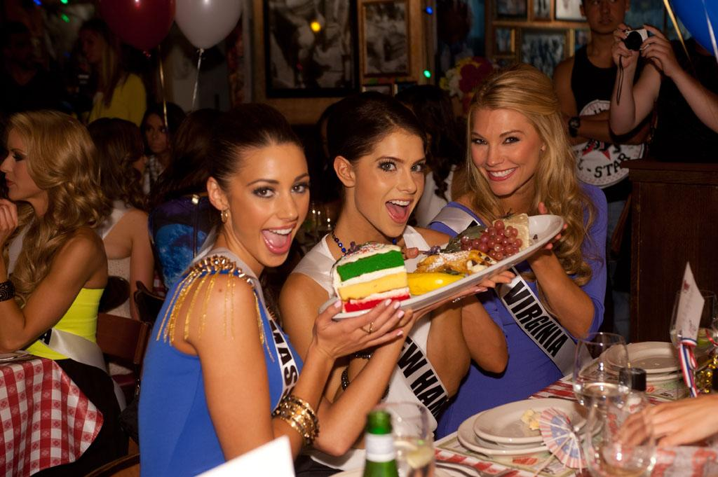 Miss Massachusetts USA 2013, Sarah Kidd; Miss New Hampshire USA 2013, Amber Faucher; and Miss West Virginia USA 2013, Chelsea Welch; enjoy the welcome dinner at Buca di Beppo in Las Vegas, Nevada on Wednesday June 5, 2013.