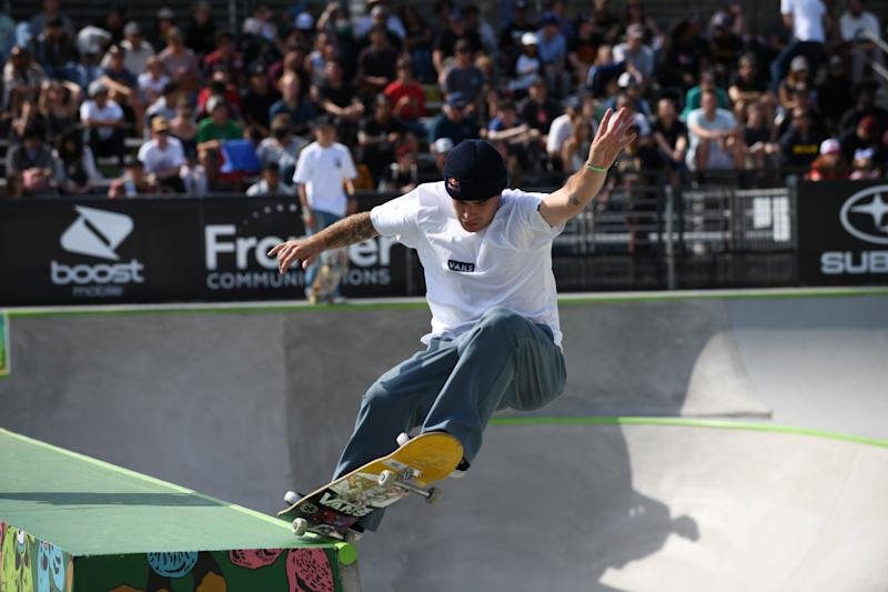 Pedro Barros of Brazil skates during the men's park finals of the Dew Tour Skateboarding Championships in Long Beach, California, U.S., June 16 2019. Barros won the competition. REUTERS/Andrew Cullen