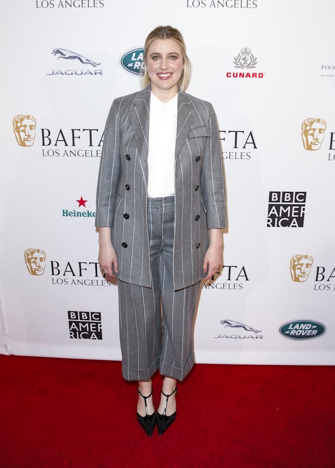 Pinstripes seem to be making a comeback this season, and the <em>Little Women</em> director is showing us how to serve looks with the pattern.