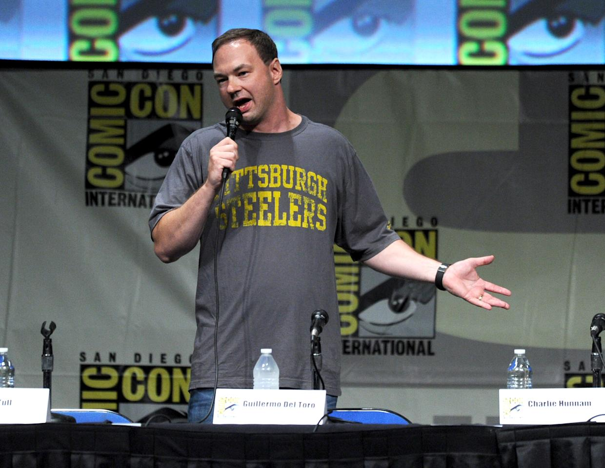 """SAN DIEGO, CA - JULY 14:  Producer Thomas Tull speaks at Warner Bros. Pictures and Legendary Pictures Preview of """"Pacific Rim"""" during Comic-Con International 2012 at San Diego Convention Center on July 14, 2012 in San Diego, California.  (Photo by Kevin Winter/Getty Images)"""