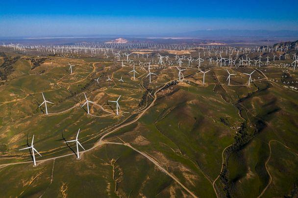 PHOTO: Alta Wind's windmills produce renewable energy in Mojave Desert outside of Lancaster, Calif., May 5, 2020. (Universal Images Group via Getty Images)