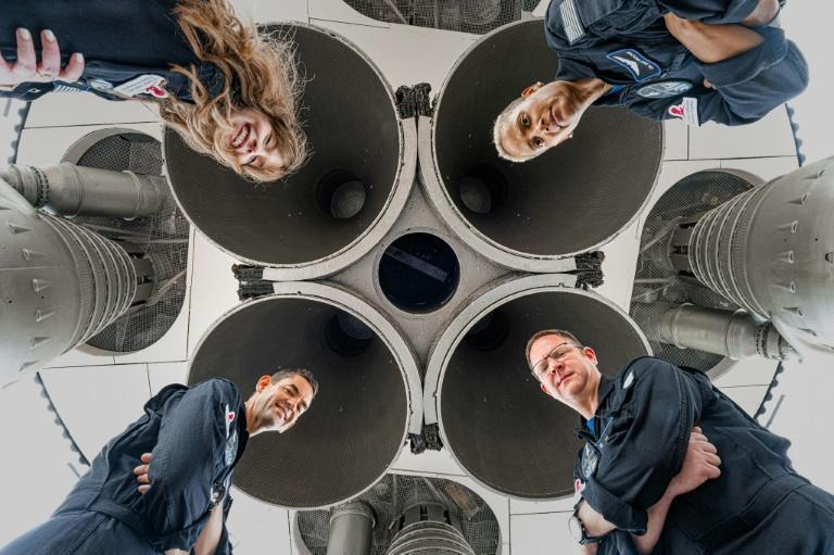 The crew of Inspiration4: Hayley Arceneaux (top left), Sian Proctor (top right), Chris Sembroski (bottom right) and Jared Isaacman (bottom left), in Alabama in July (AFP/John Kraus)