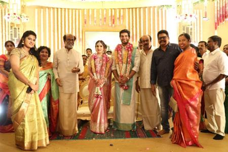 KS Ravikumar posed with Rajinikanth, Soundarya Rajnikanth and Vishagan Vanangamudi
