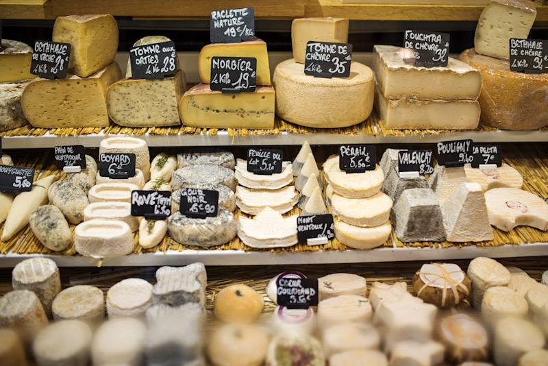 Paris, France: Different type of cheese in a store.