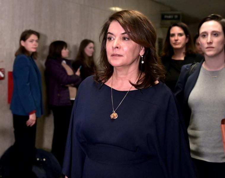 Actress Annabella Sciorra leaves the courtroom in Manhattan Criminal Court, on January 23, 2020 in New York City. (AFP Photo/Johannes EISELE)