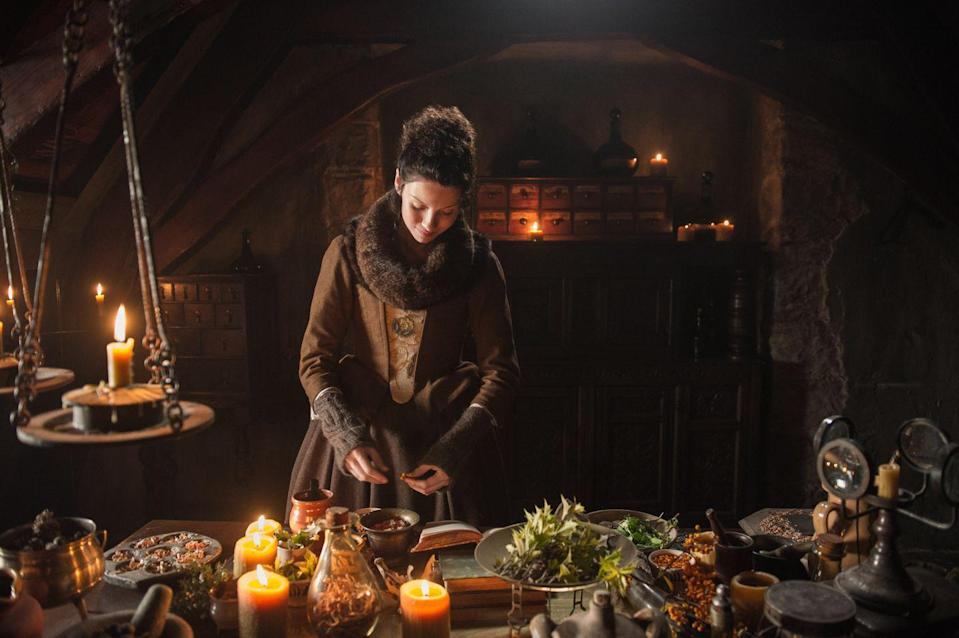 """<p>Every meal you see on the show is <a href=""""https://www.marieclaire.com/culture/a28610/outlander-season-three-set-visit/"""" rel=""""nofollow noopener"""" target=""""_blank"""" data-ylk=""""slk:real."""" class=""""link rapid-noclick-resp"""">real.</a></p>"""