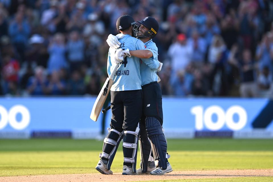 James Vince and Lewis Gregory celebrate the former's century (Getty Images)