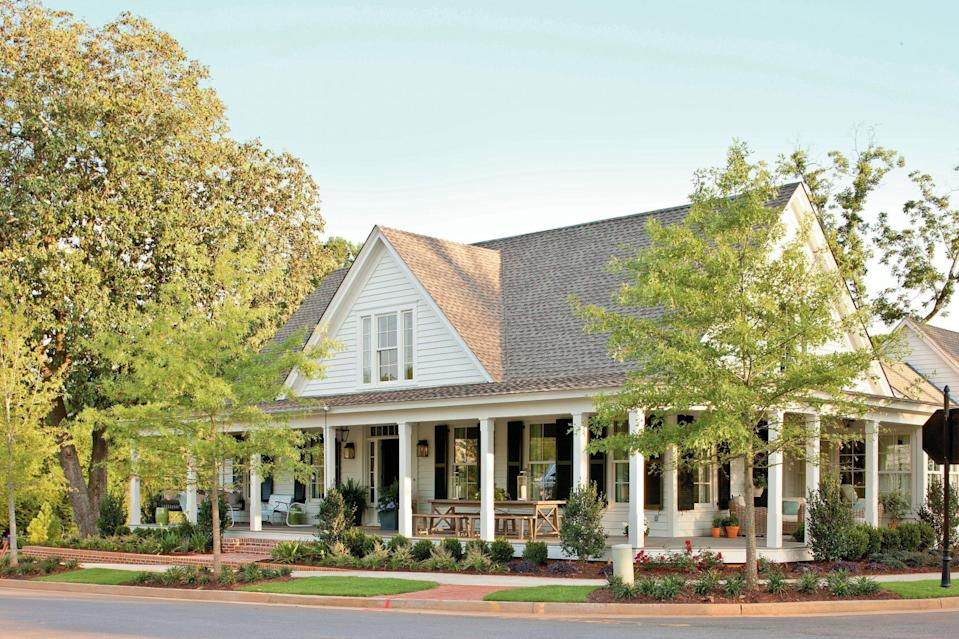 """<p>On the exterior of our 2012 Idea House in Georgia, <a href=""""https://www.sherwin-williams.com/homeowners/color/find-and-explore-colors/paint-colors-by-family/SW7011-natural-choice"""" rel=""""nofollow noopener"""" target=""""_blank"""" data-ylk=""""slk:Sherwin-Williams Natural Choice (SW 7011)"""" class=""""link rapid-noclick-resp"""">Sherwin-Williams Natural Choice (SW 7011)</a> is a, well, natural choice! See <a href=""""https://www.southernliving.com/southern-living-idea-house-sneak-peek"""" rel=""""nofollow noopener"""" target=""""_blank"""" data-ylk=""""slk:more"""" class=""""link rapid-noclick-resp"""">more</a>.</p>"""
