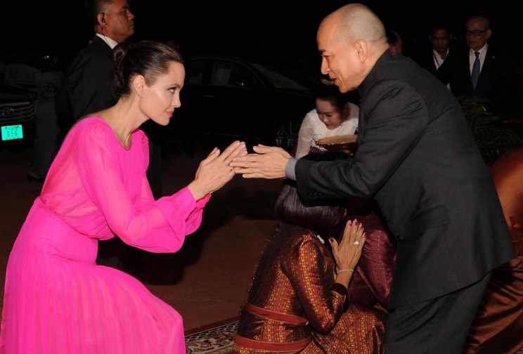 Angelina Jolie dons hot pink gown in rare public appearance