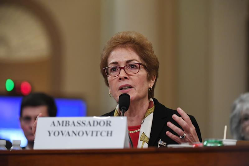 Former Ambassador to Ukraine, Marie Yovanovitch appears before the House Intelligence Committee during an impeachment hearing at the Longworth House Office Building on November 15, 2019 in Washington, DC. (Photo: Matt McClain/The Washington Post via Getty Images)
