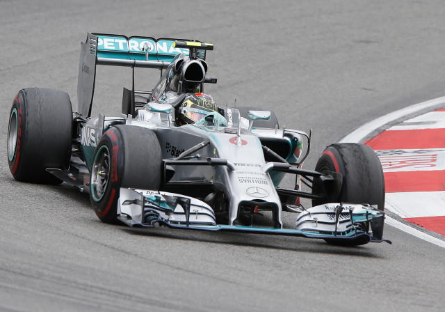 Mercedes driver Nico Rosberg of Germany races during the German Formula One Grand Prix in Hockenheim, Germany, Sunday, July 20, 2014. (AP Photo/Michael Probst)