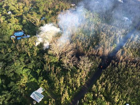 Lava fountains spew aggressively from Hawaii's Kilauea Volcano