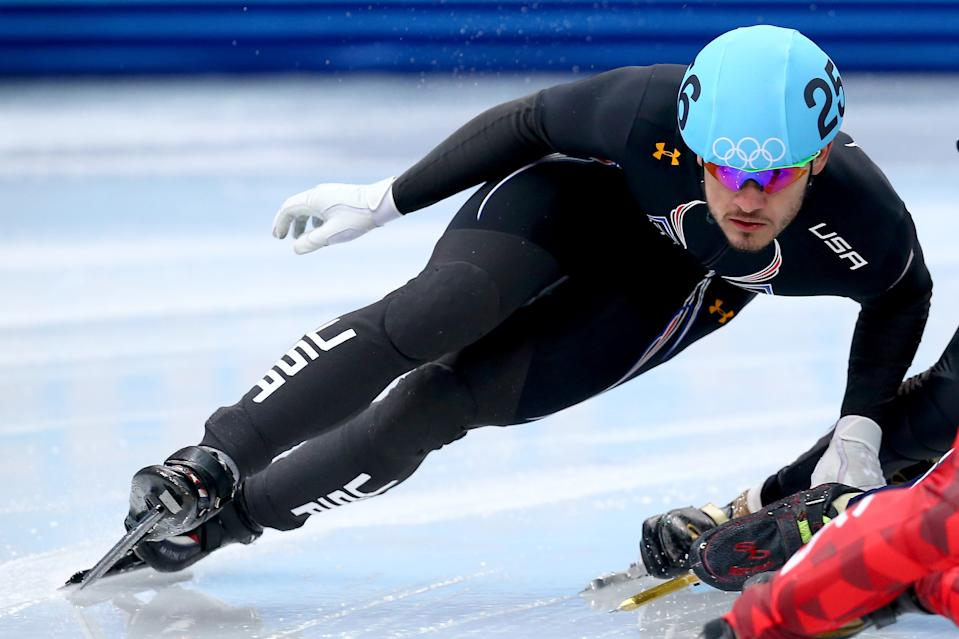 SOCHI, RUSSIA - FEBRUARY 10: Eddy Alvarez of the United States  competes in the Short Track Speed Skating Men's 1500m qualifying on day 3 of the Sochi 2014 Winter Olympics at Iceberg Skating Palace on February 10, 2014 in Sochi, Russia.  (Photo by Streeter Lecka/Getty Images)