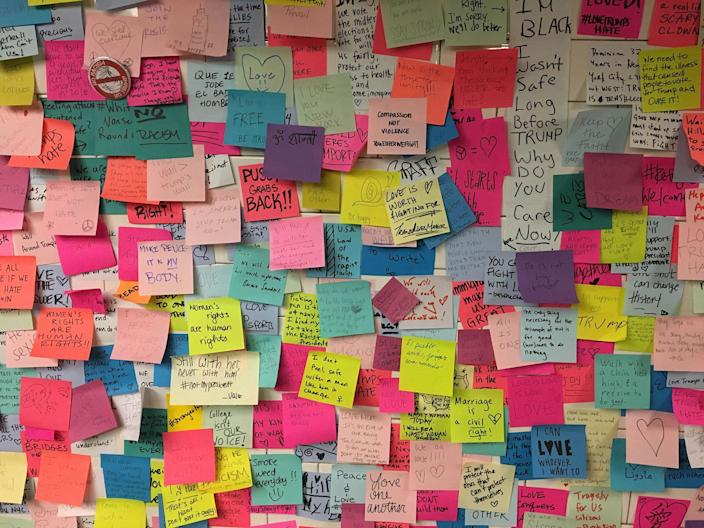 <p>NOV. 13, 2016 — Anti-Trump Post Its adorn the walls of Union Square Subway Station in New York City. (Stephen Trupp/Star Max/IPx/AP) </p>