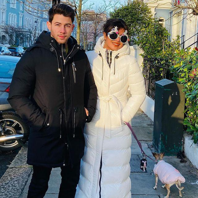 """<p>The couple got into the festive spirit ahead of Christmas in London early, with the actress wearing glittery sunglasses during a dog walk in the capital city. </p><p><a href=""""https://www.instagram.com/p/CJL0d3hDXOH/"""" rel=""""nofollow noopener"""" target=""""_blank"""" data-ylk=""""slk:See the original post on Instagram"""" class=""""link rapid-noclick-resp"""">See the original post on Instagram</a></p>"""