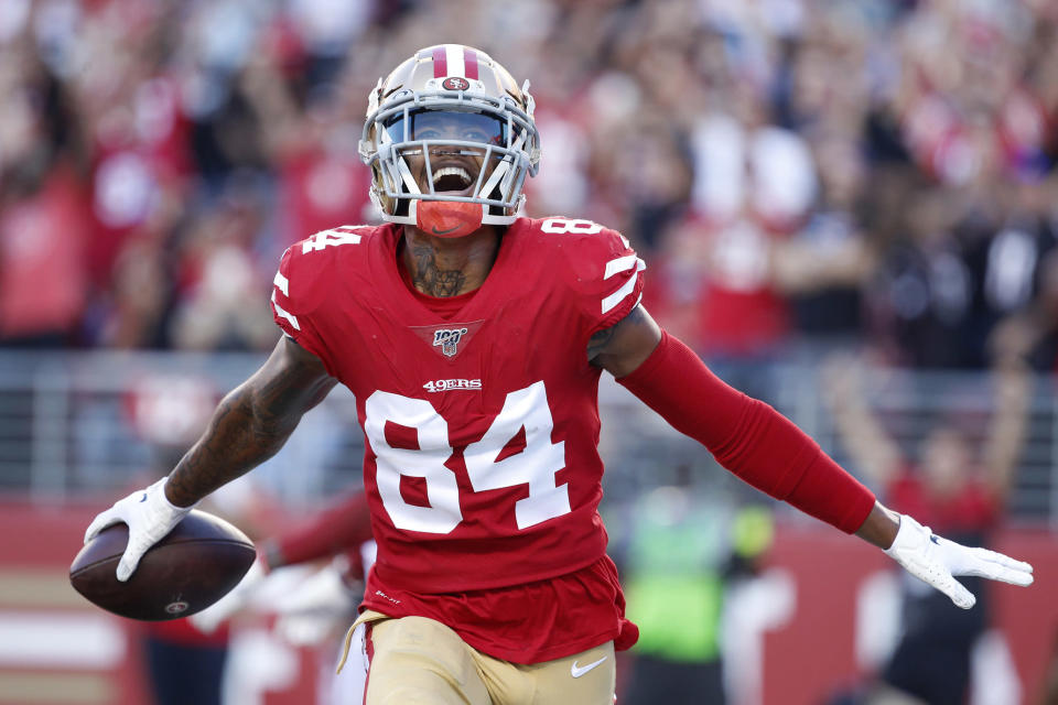 San Francisco 49ers wide receiver Kendrick Bourne (84) celebrates after scoring against the Arizona Cardinals during the second half of an NFL football game in Santa Clara, Calif., Sunday, Nov. 17, 2019. (AP Photo/Josie Lepe)