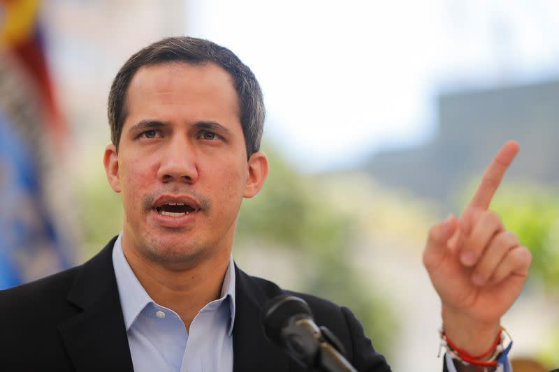 Venezuelan opposition leader Juan Guaido speaks during a news conference in Caracas
