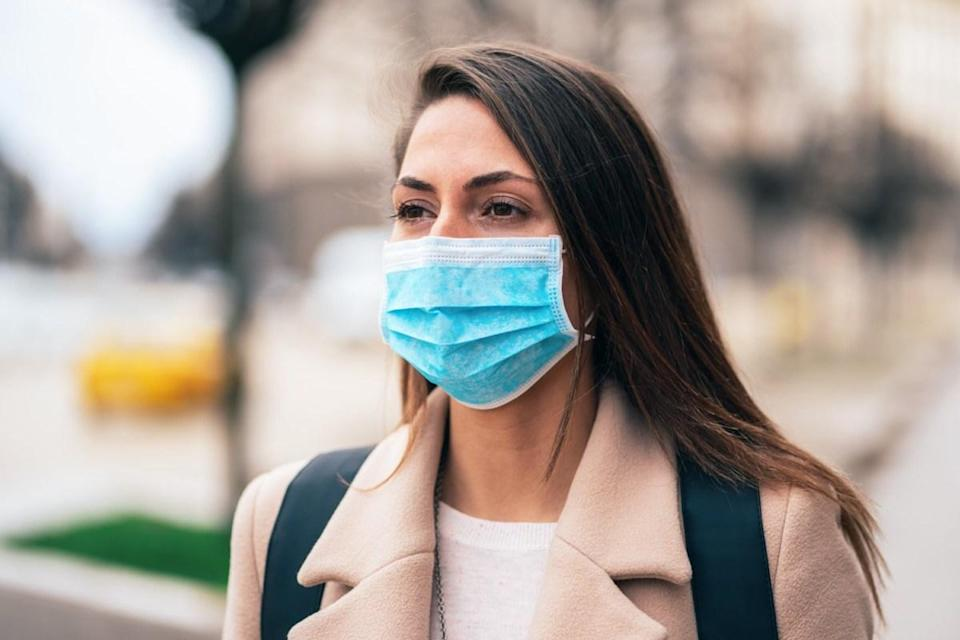 Woman with face protective mask