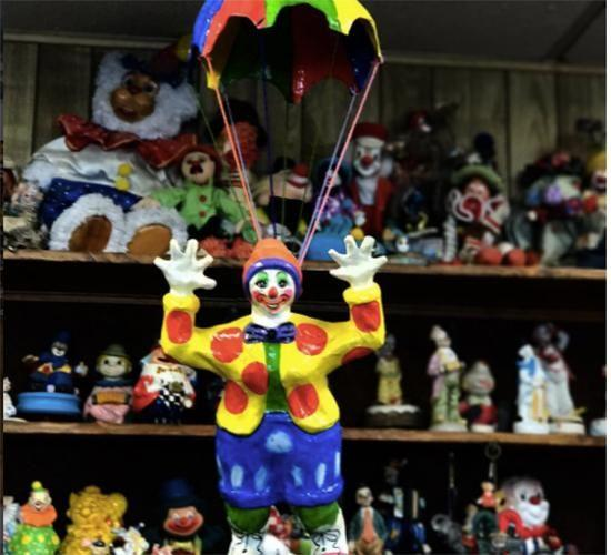 The reception is full of clown trinkets and each room is clown-themed. Photo: Instagram