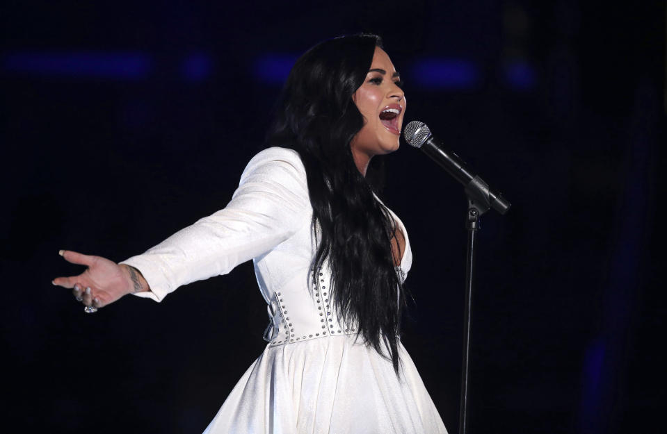 "Demi Lovato performs ""Anyone"" at the 62nd annual Grammy Awards on Sunday, Jan. 26, 2020, in Los Angeles. (Photo by Matt Sayles/Invision/AP)"