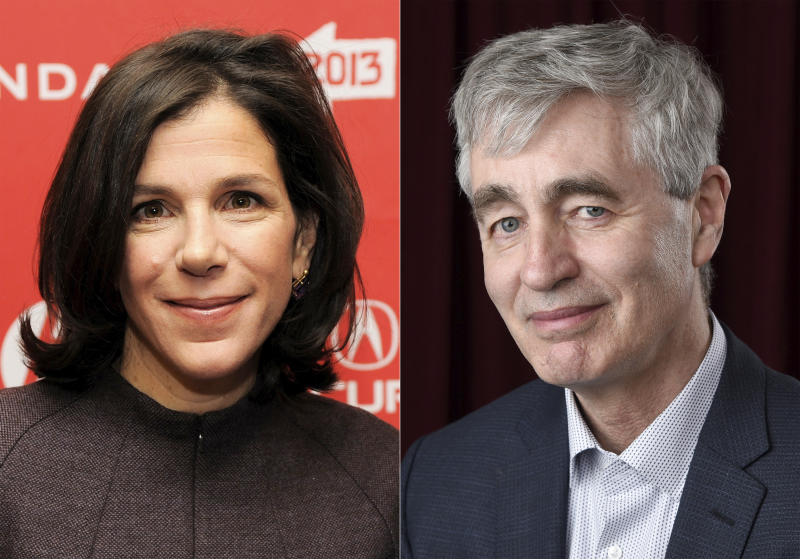 """This combination photo shows filmmakers Alexandra Pelosi, left, and Steve James. Documentarians, from """"Hoop Dreams"""" director Steve James to """"Outside the Bubble's"""" Alexandra Pelosi, are bringing out their cameras to capture the historic nationwide protests, despite the danger, the pandemic and even the lack of a plan for how to use the footage. (AP Photo)"""