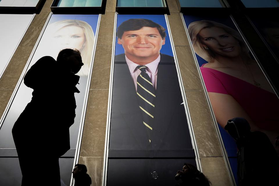 Fox News host Tucker Carlson, pictured on the News Corp building in New York, didn't mention Olivia Troye's condemnation of the Trump administration. (Photo: Brendan McDermid/reuters)