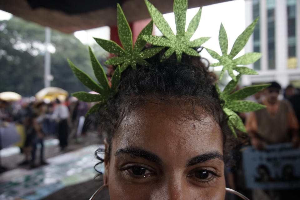 Hundreds of people take part in a march demanding the legalization of marijuana at Paulista Avenue, in Sao Paulo, Brazil, on June 1, 2019. - Members of the Brazilian Association of Patients of Medical Cannabis and other people marched calling for the legalization of marijuana, either for its medical benefits or for recreational purposes. (Photo by Cris Faga/NurPhoto via Getty Images)