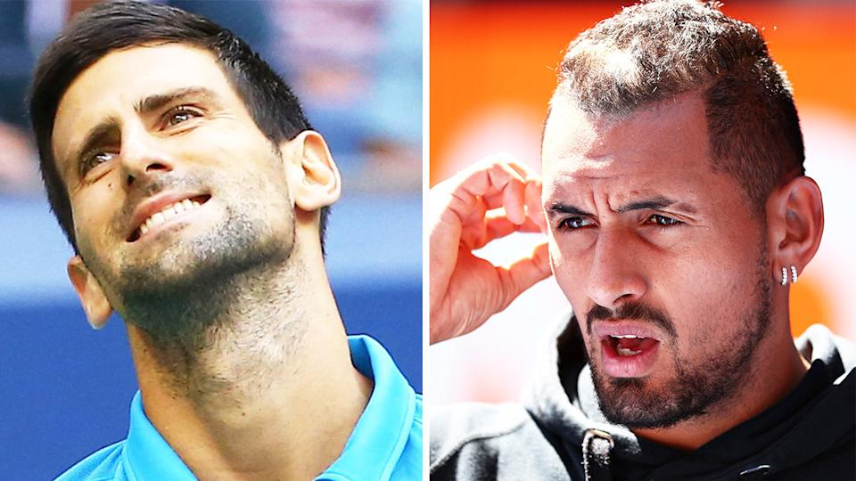 Nick Kyrgios (pictured right) during an interview at the Australian Open and Novak Djokovic (pictured left) after a point.