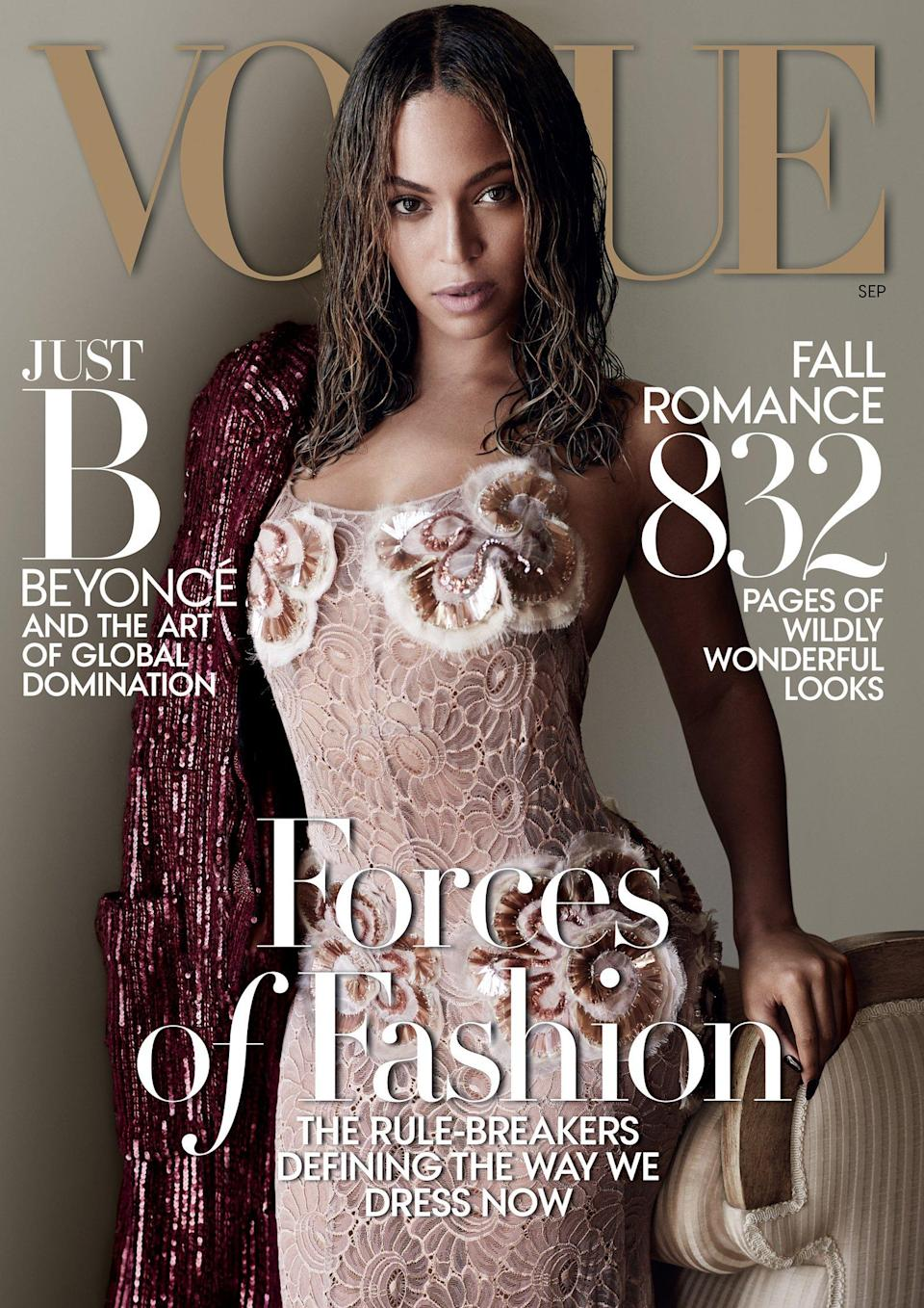 Beyonce on the September 2015 cover of Vogue US. [Photo: Vogue]