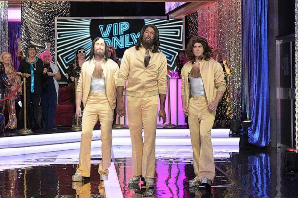 PHOTO: Whit Johnson, Michael Strahan and Gio Benitez dressed as The Bee Gees for Halloween on 'Good Morning America,' Oct. 31, 2019. (Paula Lobo/ABC News)