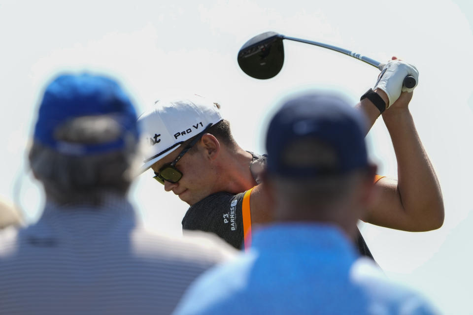 Garrick Higgo, of South Africa, hits his tee shot on the fourth hole during a practice round at the PGA Championship golf tournament on the Ocean Course Tuesday, May 18, 2021, in Kiawah Island, S.C. (AP Photo/David J. Phillip)