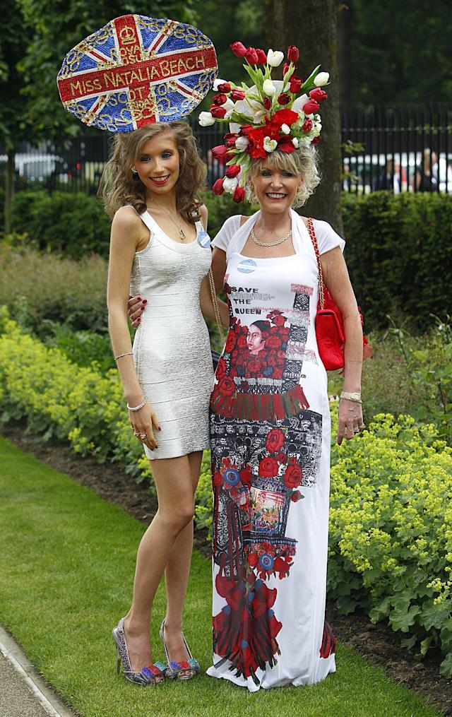 Natalia Beach wears a Union Jack themed hat standing alongside her mum Julie during Day Four of The Royal Ascot Meeting 2013