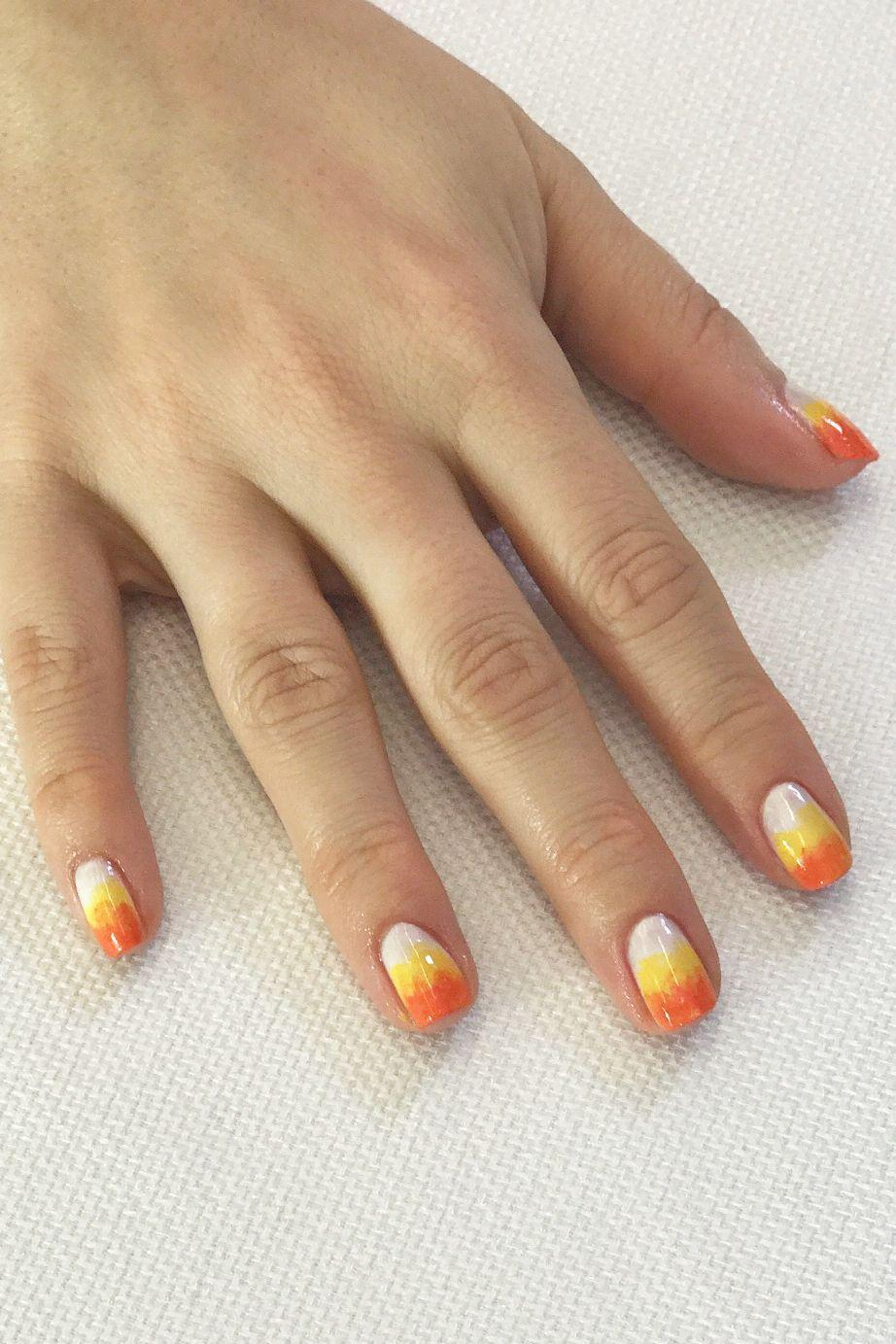 "<p>No steady hand required! Just resist the urge to eat all of your Halloween stash of candy corn while you paint (it's tough, we know). Start with a coat of white, and gently sponge yellow onto half of your nail, then orange on the ends to get the look.</p><p><a class=""link rapid-noclick-resp"" href=""https://www.amazon.com/TOODOO-Picking-Dotting-Gradient-Replacement/dp/B077P2LP25/?tag=syn-yahoo-20&ascsubtag=%5Bartid%7C10055.g.1421%5Bsrc%7Cyahoo-us"" rel=""nofollow noopener"" target=""_blank"" data-ylk=""slk:SHOP NAIL SPONGE"">SHOP NAIL SPONGE</a> </p>"