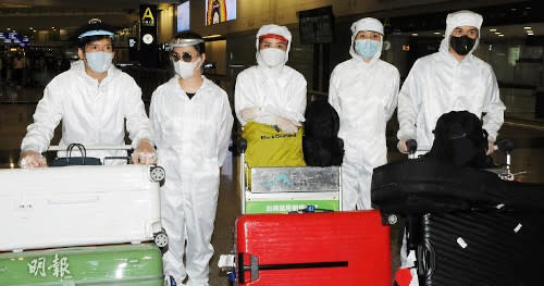The five Hong Kong celebrities seen here wearing full protective gears (Photo source: Mingpao).