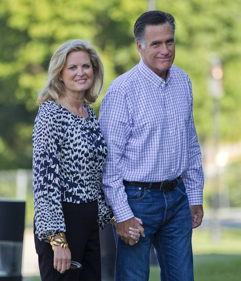 Republican presidential candidate, former Massachusetts Gov. Mitt Romney and his wife Ann, arrive at Brewster Academy, for convention preparations, Monday, Aug. 27, 2012, in Wolfeboro, N.H.  (AP Photo/Evan Vucci)