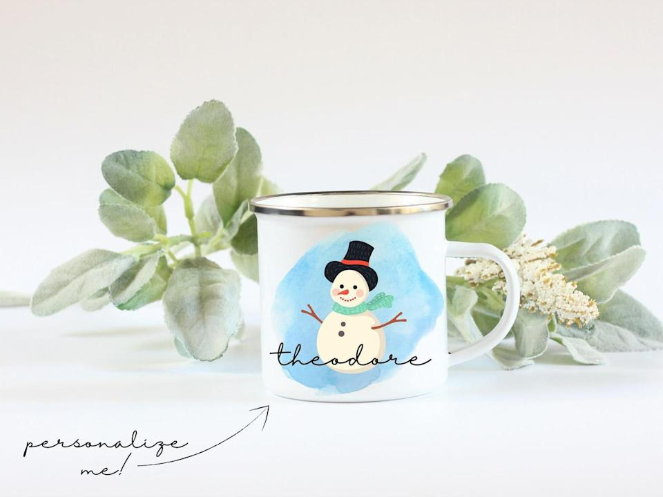 <p>Get in the holiday spirit with the <span>Personalized Snowman Mug</span> ($14, originally $16).</p>