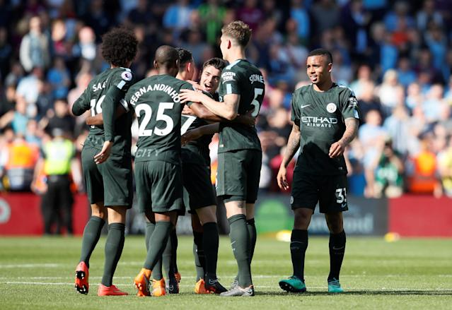 "Soccer Football - Premier League - Southampton vs Manchester City - St Mary's Stadium, Southampton, Britain - May 13, 2018 Manchester City's Brahim Diaz, Gabriel Jesus and team mates celebrate after the match REUTERS/David Klein EDITORIAL USE ONLY. No use with unauthorized audio, video, data, fixture lists, club/league logos or ""live"" services. Online in-match use limited to 75 images, no video emulation. No use in betting, games or single club/league/player publications. Please contact your account representative for further details."