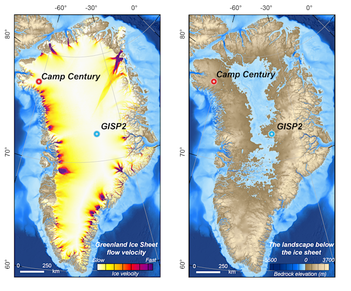 Maps of Greenland Ice Sheet speed and bedrock elevation