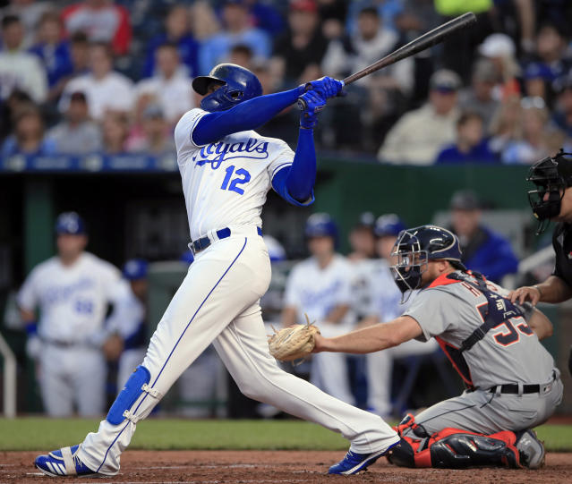 Kansas City Royals' Jorge Soler follows through on an RBI double during the third inning of the team's baseball game against the Detroit Tigers at Kauffman Stadium in Kansas City, Mo., Wednesday, June 12, 2019. (AP Photo/Orlin Wagner)