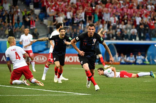 Croatia's Mario Mandzukic canceled out Denmark's opening goal in the fourth minute of their 2018 World Cup Round of 16 match. (Getty)
