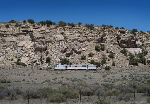 A mobile home in the Navajo Nation community of Steamboat, Arizona
